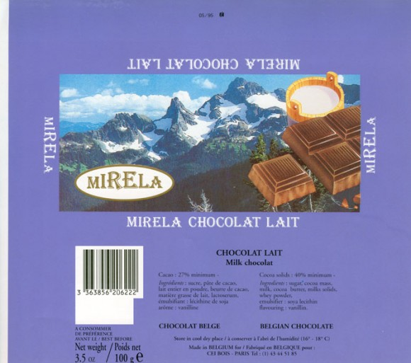 Mirela, milk chocolate, 100g, Made in Belgium for Cei Bois, Paris, France