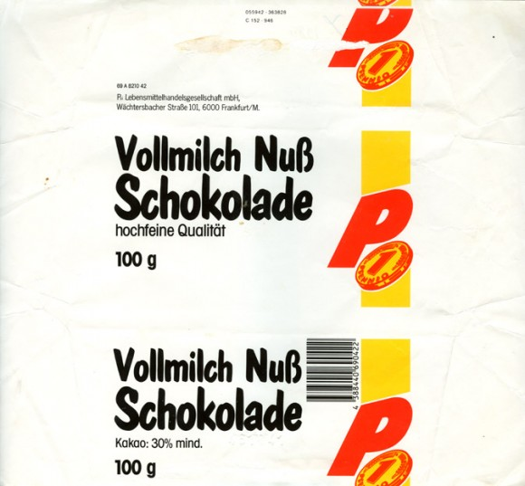 Milk chocolate with nuts, 100g, 1980, Psi Lebensmittelhandelsgesellschaft mbH, Frankfurt/M, Germany