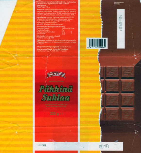 Milk chocolate with nuts, 200g, 12.2003