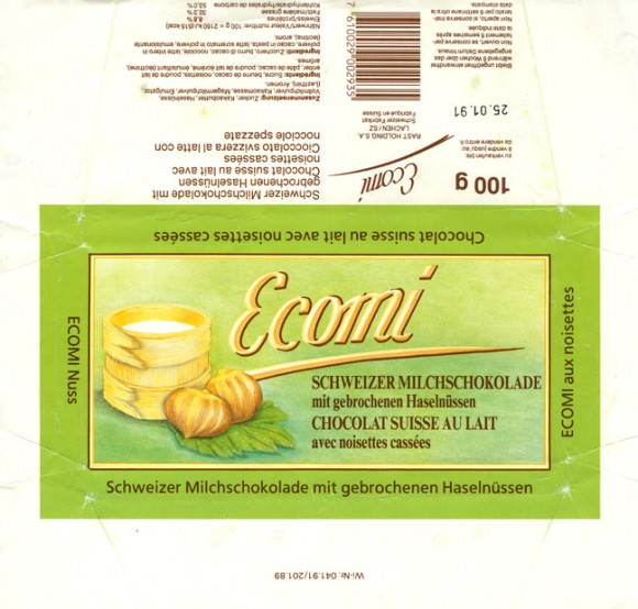 Ecomi, milk chocolate with hazelnuts, 100g, 25.01.1990, Rast Holding S.A. Lachen, Switzerland