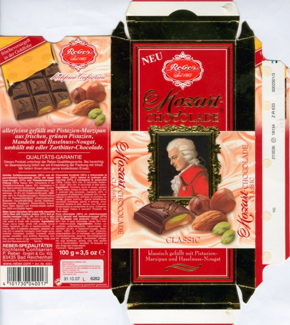 Bitter sweet chocolate and milk chocolate filled hazelnut praline and pistachio marzipan, 100g, 31.10.2006, Reber-Spezialitäten hochfeine Confiserien P.Reber GmbH & Co. KG, Bad Reichenhall, Germany