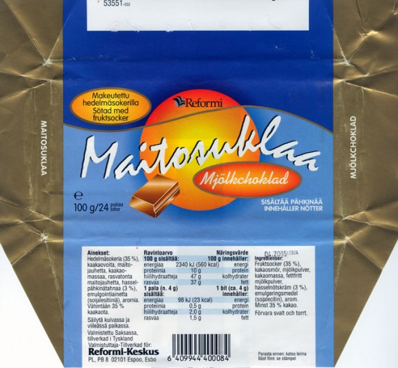 Maitosuklaa, milk chocolate, sugar free, 100g, 04.2004