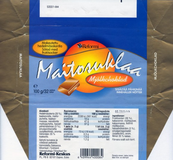 Milk chocolate sugar free, 100g, 08.2004, Reformi-Keskus, Espoo,  Made in Germany