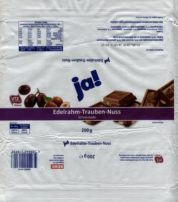 Ja!, milk chocolate with nuts, 200g, 17.05.2014, made for REWE Markt GmbH, Koln, Germany
