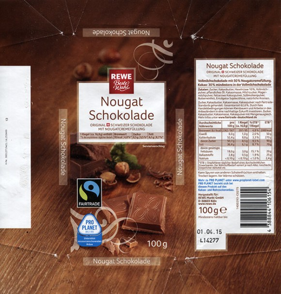 Milk chocolate with nougat, 100g, 01.04.2014, made for REWE Markt GmbH, Koln, Germany