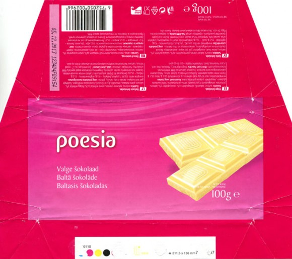 Poesia, white chocolate, 100g, 05.12.2012, Made in Germany for RIMI, Germany