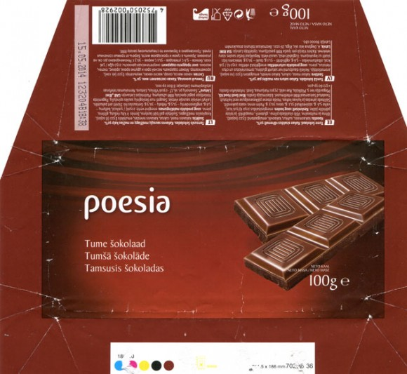 Poesia, dark chocolate, 100g, 15.05.2013, Made in Germany for RIMI, Germany