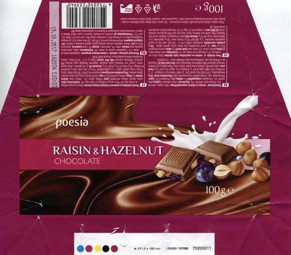 Poesia, milk chocolate with raisins and nuts, 100g, 19.10.2016, Made in Germany for RIMI, Germany