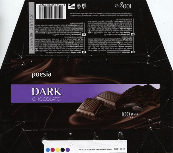 Poesia, dark chocolate, 100g, 27.07.2016, Made in Germany for RIMI, Germany