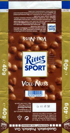 Ritter sport, voll-nuss, milk chocolate with whole hazelnuts, 40g, 05.2001, Alfred Ritter GmbH & Co. Waldenbuch, Germany