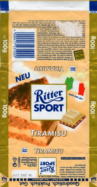 Ritter sport, tiramisu, white chocolate with mascarpone flavouring and milk chocolate with almond amaretto flavouring and crispy rice, 100g, 06.2002, Alfred Ritter GmbH & Co. Waldenbuch, Germany