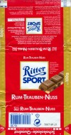 Ritter sport, rum-trauben-nuss, milk chocolate with rum, rasins and hazelnuts, 100g, 07.1994, Alfred Ritter GmbH & Co. Waldenbuch, Germany