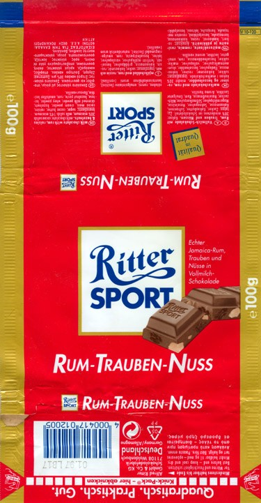 Ritter sport, rum-trauben-nuss, milk chocolate with rum, rasins and hazelnuts, 100g, 01.1996, Alfred Ritter GmbH & Co. Waldenbuch, Germany