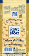 Ritter sport, weisse voll-nuss, white chocolate with whole hazelnuts and crispy rice, 100g, 10.1997, Alfred Ritter GmbH & Co. Waldenbuch, Germany
