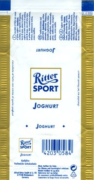 Ritter sport, joghurt, milk chocolate with joghurt filling, Alfred Ritter GmbH & Co. Waldenbuch, Germany