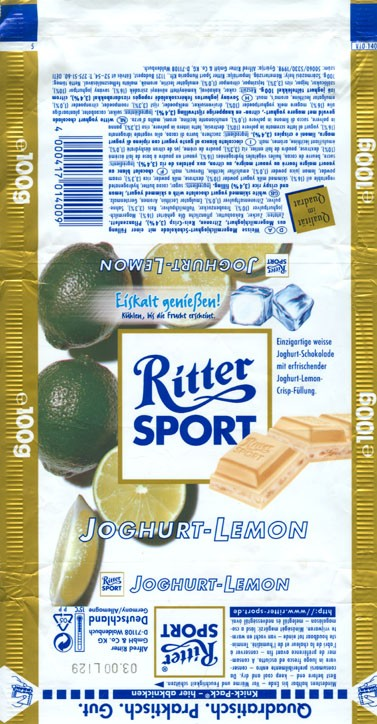 Ritter sport, white skimmed yogurt chocolate with a skimmed yogurt, lemon and crispy rice filling, 100g, 03.1999, Alfred Ritter GmbH & Co. Waldenbuch, Germany