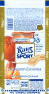 Ritter sport, white skimmed yogurt chocolate with a skimmed yogurt, orange and crispy rice filling, 100g, 03.1999, Alfred Ritter GmbH & Co. Waldenbuch, Germany