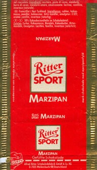Ritter sport, dark chocolate with marzipan filled, Alfred Ritter GmbH & Co. Waldenbuch, Germany