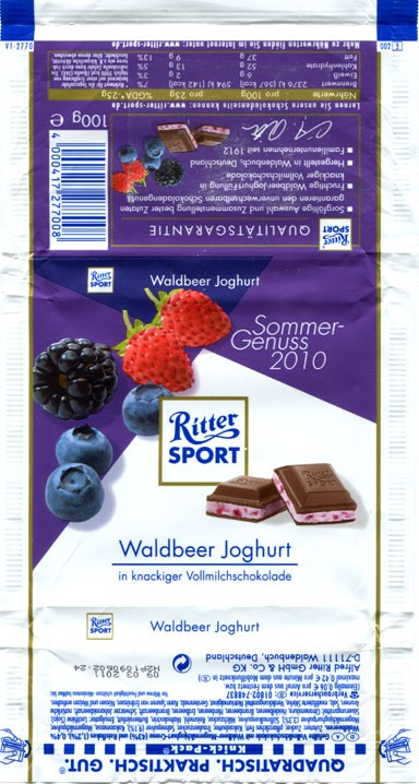 Ritter sport, milk chocolate, 100g, 09.03.2010, Alfred Ritter GmbH & Co. Waldenbuch, Germany