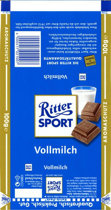 Ritter sport, milk chocolate, 100g, Alfred Ritter GmbH & Co. Waldenbuch, Germany