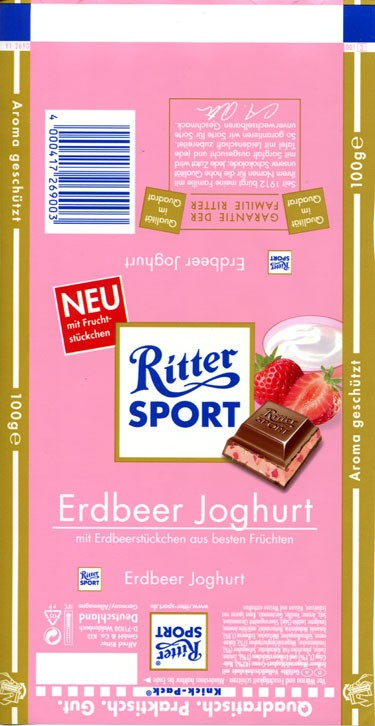 Ritter sport, milk chocolate with strawberry cream filling, 100g, Alfred Ritter GmbH & Co. Waldenbuch, Germany