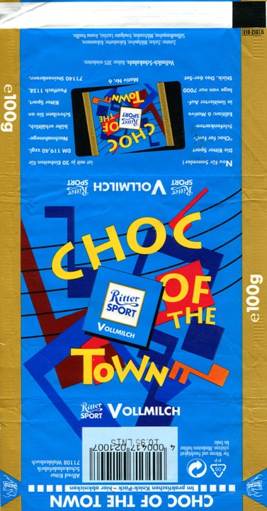 Ritter sport, choc of the town, milk chocoate, 100g, 10.1994, Alfred Ritter GmbH & Co. Waldenbuch, Germany