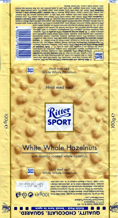 Ritter sport, white chocolate with whole hazelnuts and crispy rice, 100g, 14.08.2010, Alfred Ritter GmbH & Co. Waldenbuch, Germany
