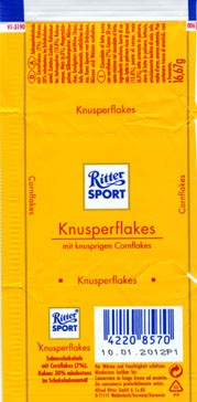 Ritter sport, chocolate with crisp cornflakes, 16,67g, 10.01.2011, Alfred Ritter GmbH & Co. Waldenbuch, Germany
