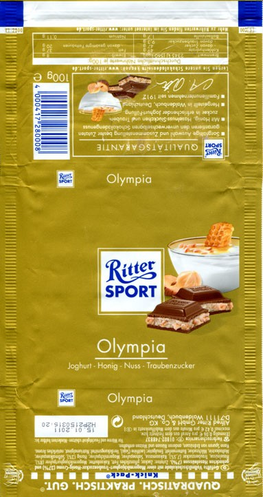 Ritter sport, Olympia, milk chocolate filled with joghurt, nuts and honey, 100g, 15.01.2010, Alfred Ritter GmbH & Co. Waldenbuch, Germany