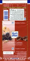 Ritter sport, Trauben cashew, milk chocolate with raisins and cashew nuts, 65g, 06.04.2011, Alfred Ritter Schokoladefabrik GmbH & Co. KG. Waldenbuch, Deutschland