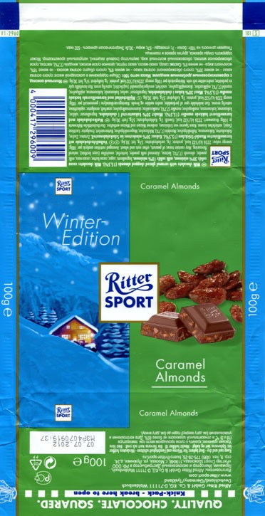 Ritter sport, winter edition, milk chocolate with caramel glazed chopped almonds, 100g, 07.07.2011, Alfred Ritter GmbH & Co. Waldenbuch, Germany