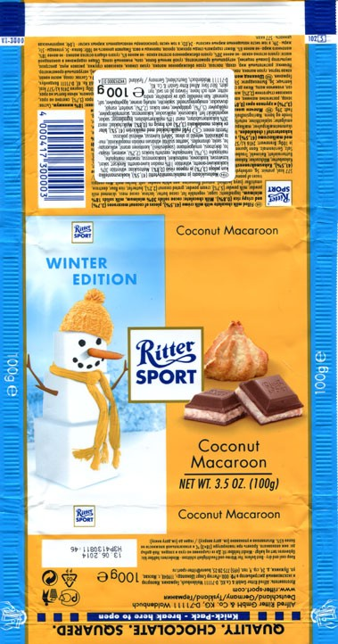 Ritter sport, winter edition, filled milk chocolate with milk creme, pieces of coconut macaroons and crispy rice, 100g, 13.06.2013, Alfred Ritter GmbH & Co. Waldenbuch, Germany
