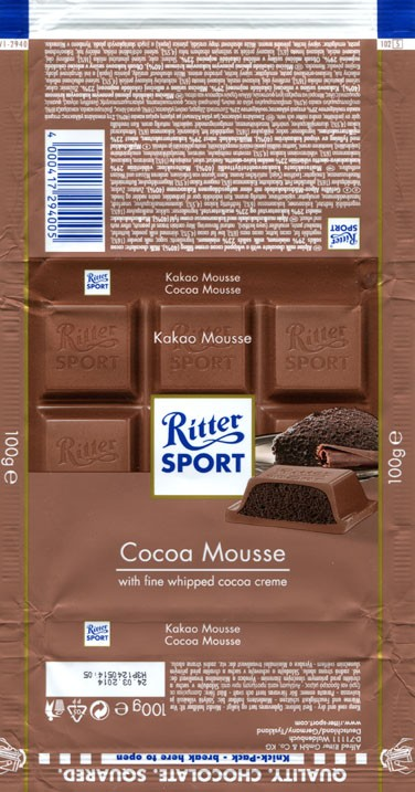 Ritter sport, Alpine milk chocolate with a whipped cocoa creme filing, 100g, 24.03.2013, Alfred Ritter GmbH & Co. Waldenbuch, Germany