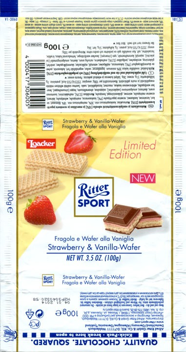 Ritter sport, Alpine milk chocolate with strawber and vanilla wafer, 100g, 04.01.2013, Alfred Ritter GmbH & Co. Waldenbuch, Germany
