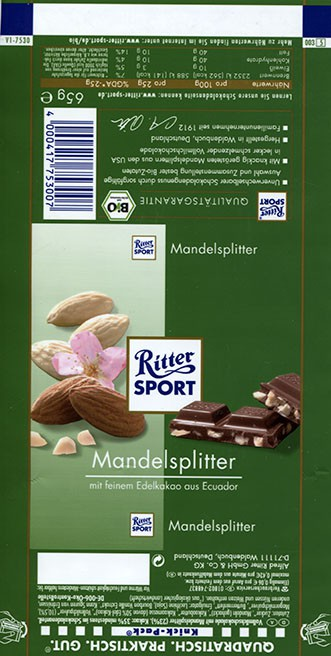 Ritter sport, milk chocolate with almonds, 65g, about 2015, Alfred Ritter GmbH & Co. Waldenbuch, Germany