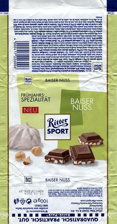 Ritter sport, Milk chocolate with nuts, 100g, 13.10.2013, Alfred Ritter GmbH & Co. Waldenbuch, Germany
