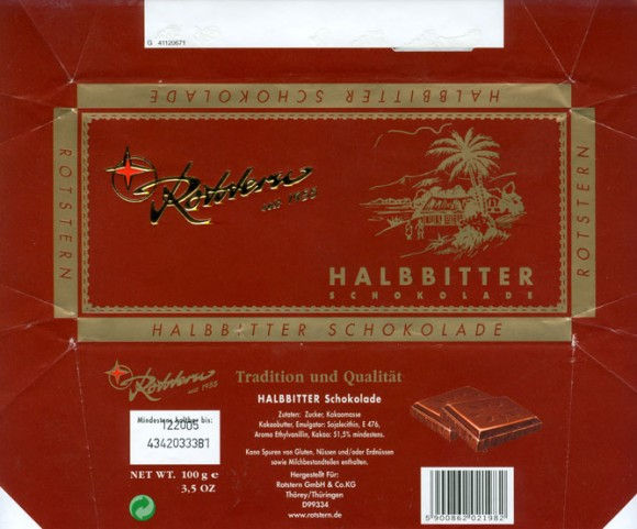 Dark chocolate, 100g, 12.2004, Rotstern GmbH & Co.KG, Thuringen, Germany