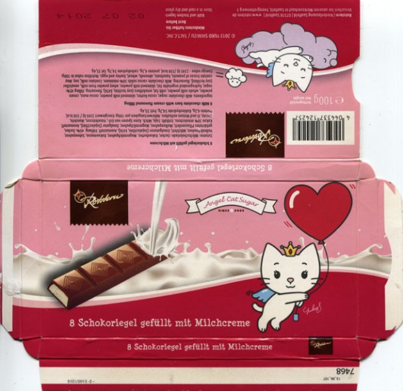 8 Milk chocolate bars with cream flavoured filling, 100g, 02.07.2013, Rotstern, Saalfeld, Germany