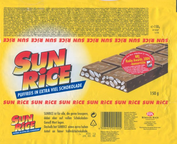 Sun Rice, puffed rice in milk chocolate, 150g, 29.03.2004