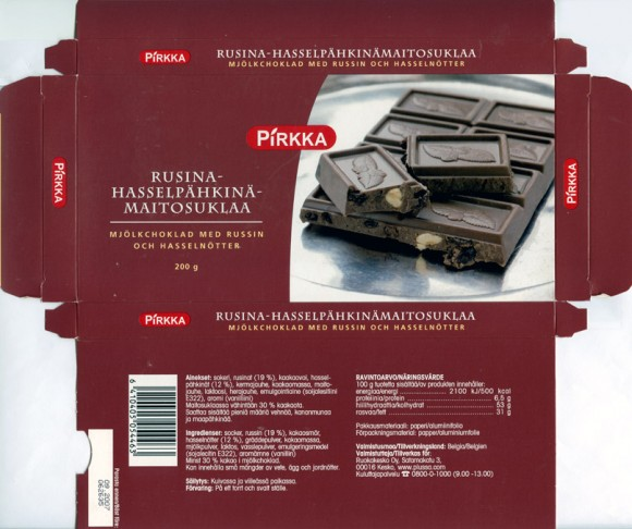 Milk chocolate  with raisins and hazelnuts, 200g, 09.2006, Ruokakesko Oy, Kesko (Finland), Belgium