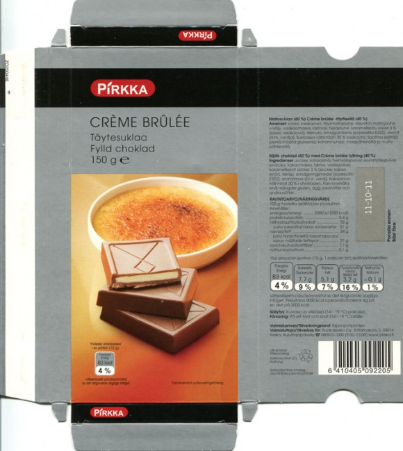 Filed chocolate, 150g, 11.10.2010, Ruokakesko oy, Kesko, made in Spain