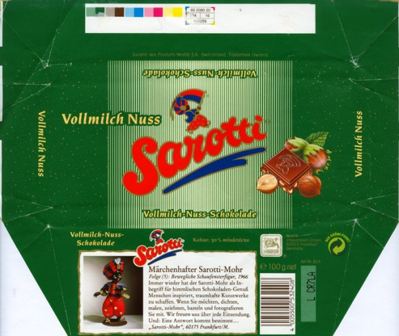 Sarotti, milk chocolate with nuts, 100g, 1996, Nestle Chocoladen GmbH, Frankfurt, Germany