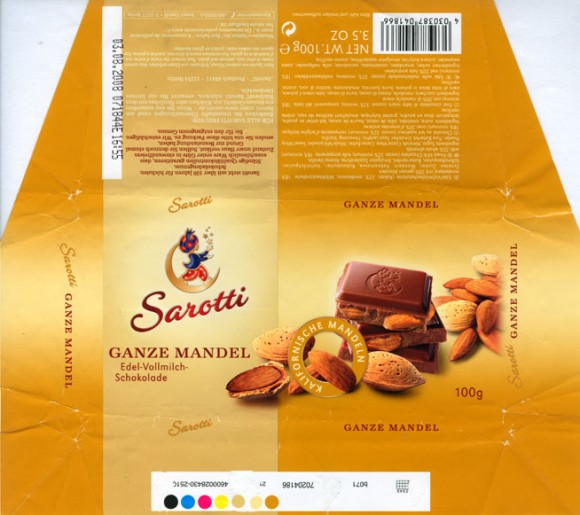 Sarotti, finest milk chocolate with whole almonds, 100g, 03.08.2007, Sarotti GmbH, Berlin, Germany