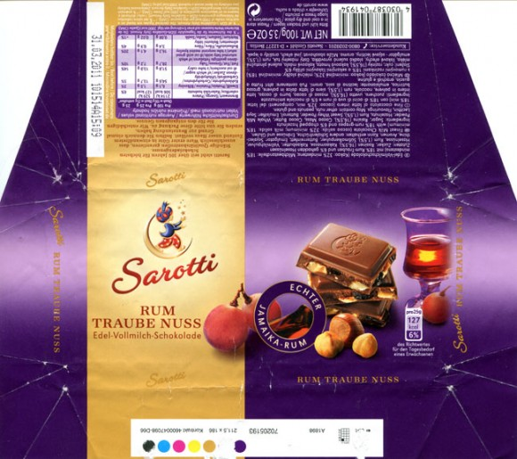 Finest milk chocolate with rum-grapes and chopped hazelnuts, 100g, 31.03.2010, Sarotti GmbH, Berlin, Germany