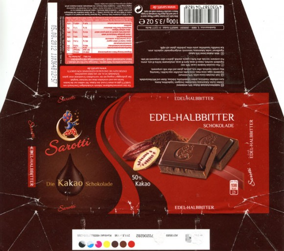 Dark chocolate, 100g, 05.08.2011, Sarotti GmbH, Berlin, Germany