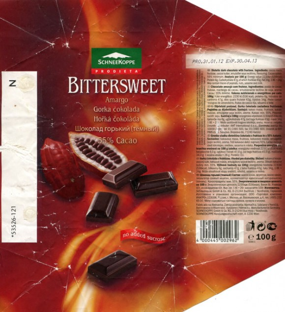 Dietetic dark chocolate with fructose, 100g, 31.01.2012, Schneekoppe Gmbh& Co. KG, Seevetal, Germany
