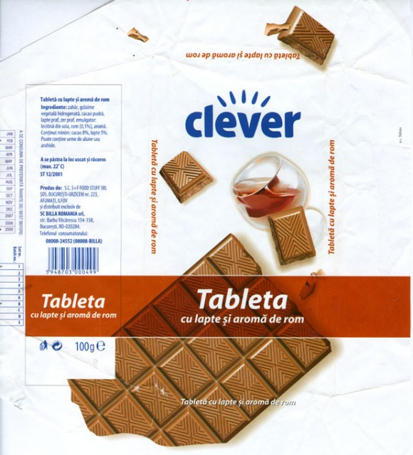 Clever, milk chocolate with rum filling, 100g, 02.2008, S.C.S+F Food Stuff SRL, Bucharest, Romania