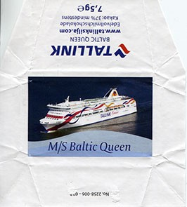 Silja Line, M/S Baltic Queen, whole milk chocolate, 7,5g, 2015, Made in Germany