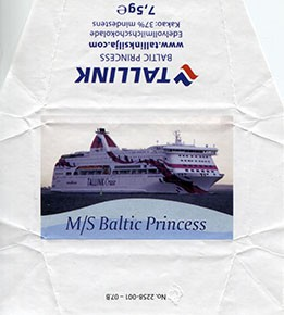 Silja Line, M/S Baltic Princess, whole milk chocolate, 7,5g, 2015, Made in Germany