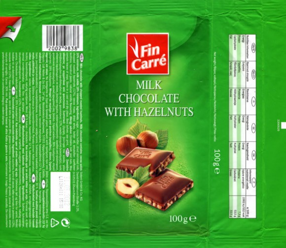 FinCarre, milk chocolate with hazelnuts, 100g, 31.03.2011, Solent GmbH & Co. KG., Ubach-Palenberg, Germany